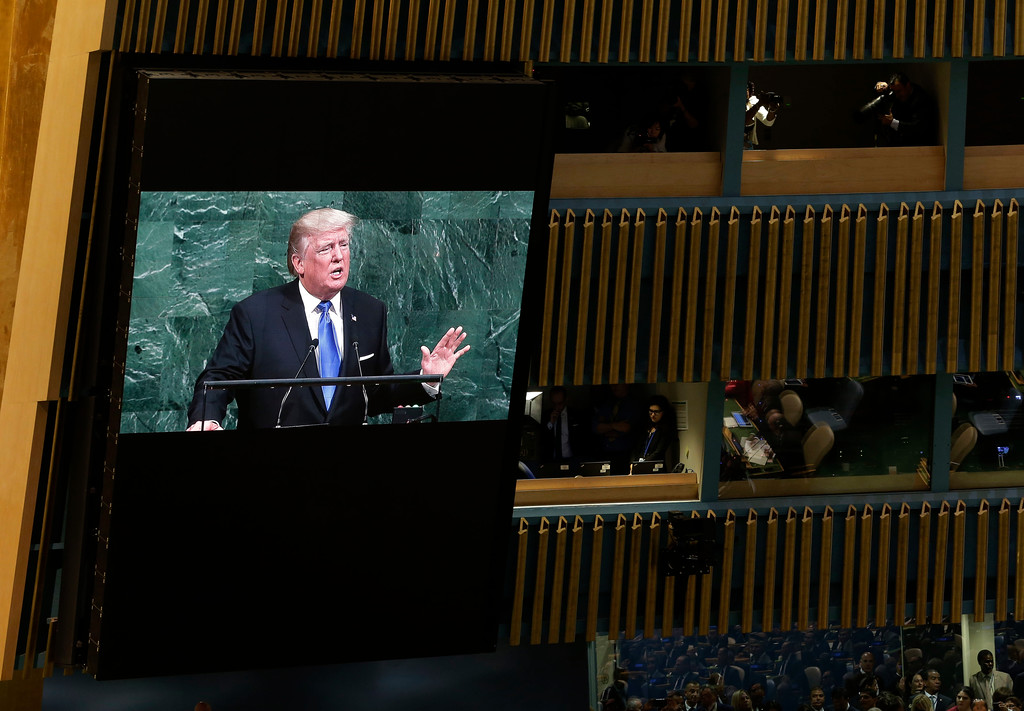 . United States President Donald Trump speaks during the United Nations General Assembly at U.N. headquarters, Tuesday, Sept. 19, 2017. (AP Photo/Seth Wenig)