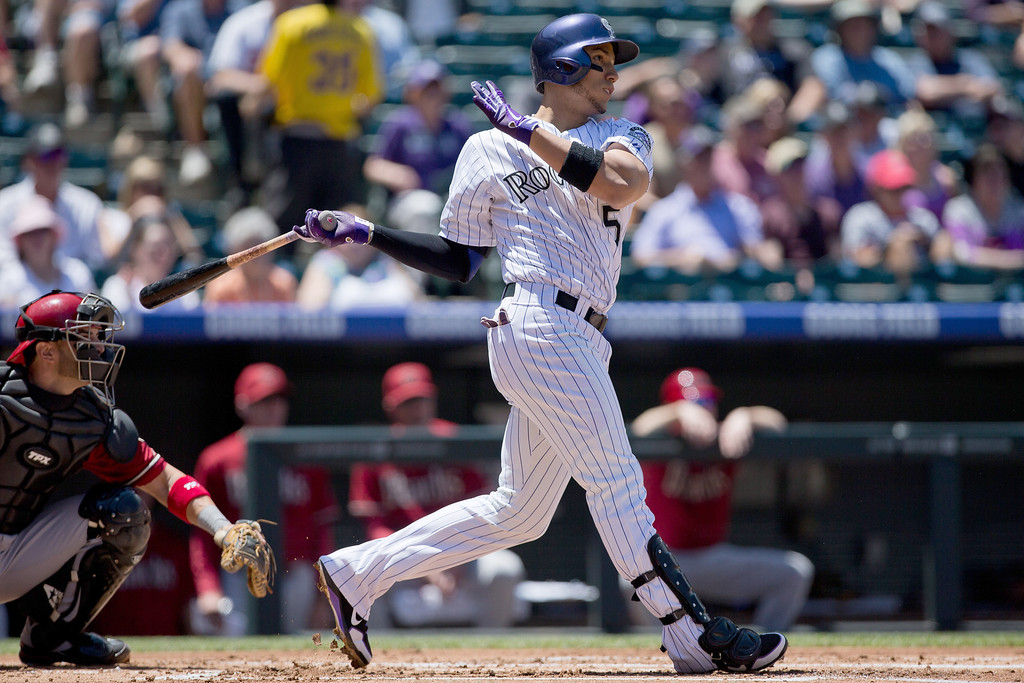 . Carlos Gonzalez #5 of the Colorado Rockies watches his solo home run during the first inning against the Arizona Diamondbacks at Coors Field on May 22, 2013 in Denver, Colorado. (Photo by Justin Edmonds/Getty Images)
