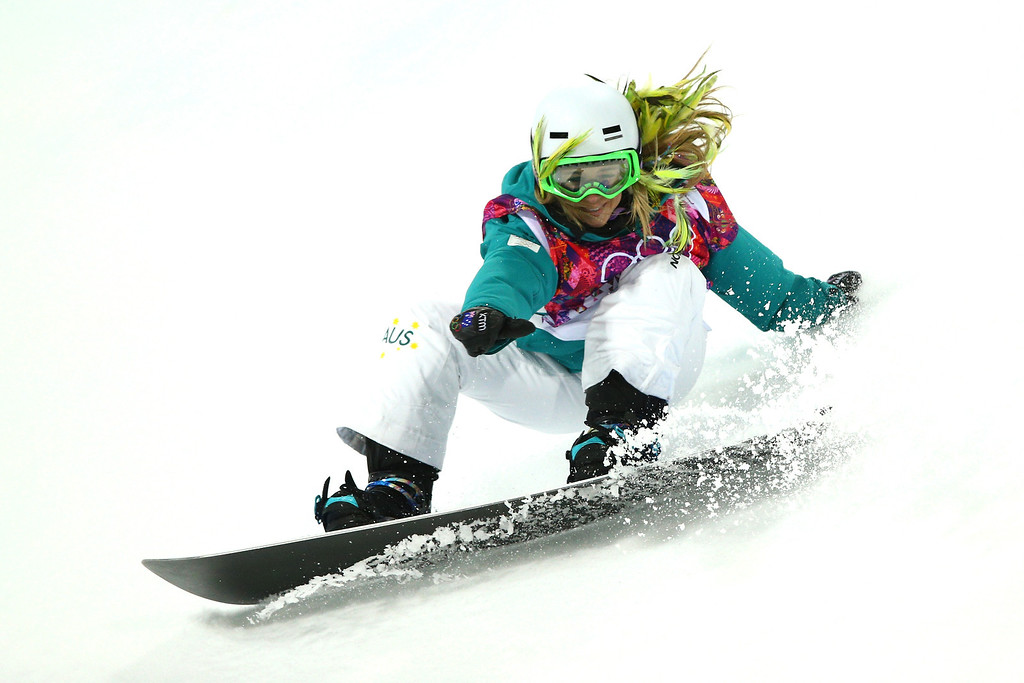 . Stephanie Magiros of Australia competes in the Snowboard Women\'s Halfpipe Semifinals on day five of the Sochi 2014 Winter Olympics at Rosa Khutor Extreme Park on February 12, 2014 in Sochi, Russia.  (Photo by Cameron Spencer/Getty Images)