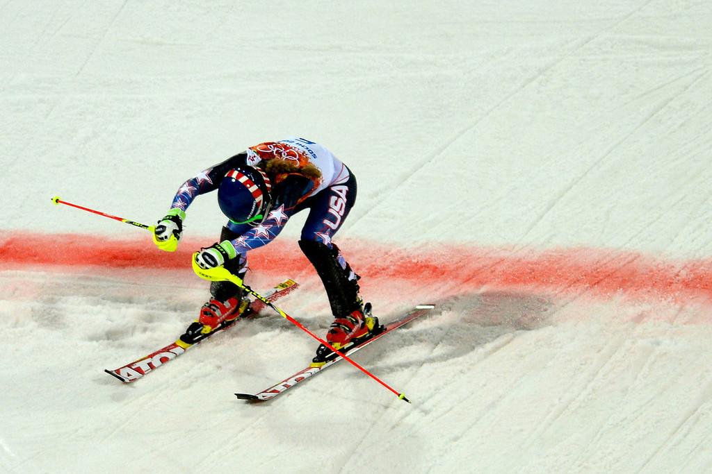 . Gold medalist American Mikaela Shiffrin reacts to winning ladies\' slalom run 2. Sochi 2014 Winter Olympics on Friday, February 21, 2014 at Rosa Khutor Alpine Center. (Photo by AAron Ontiveroz/ The Denver Post)