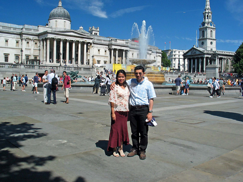 Trafalgar Square 3  Me and Anita at the square. The weather was gorgeous that day.
