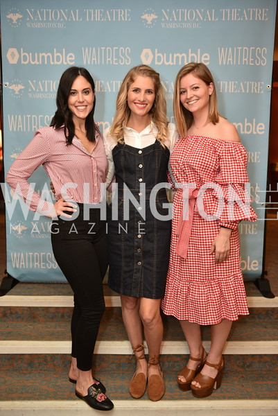 Candace Ourisman, Ashley Bronczek, Stephanie Wilkes, Young Patrons at the National Theatre, The Waitress, June 3, 2018 -9014.JPG