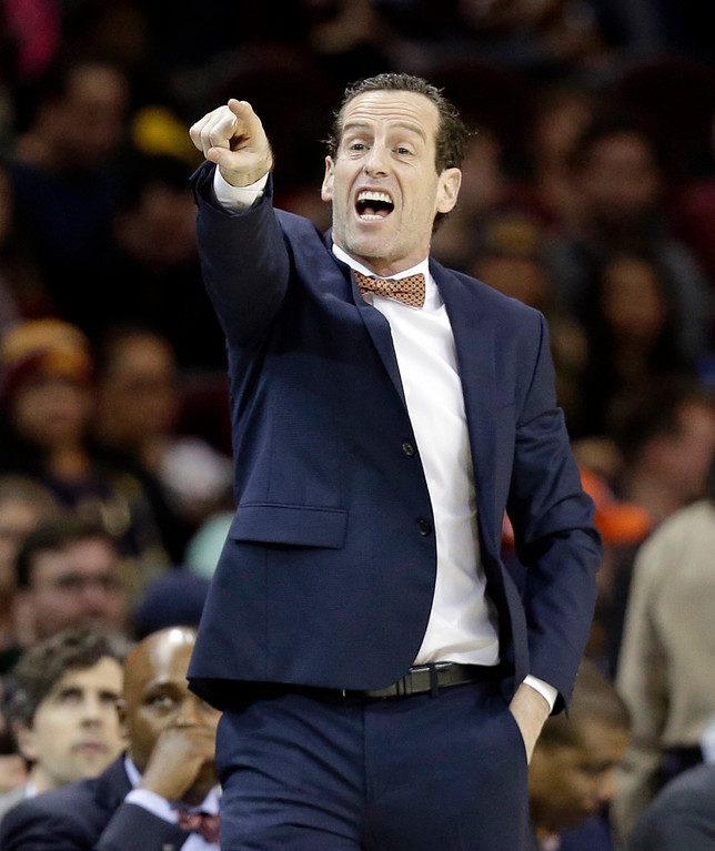 . Brooklyn Nets coach Kenny Atkinson yells to players during the second half of the team\'s NBA basketball game against the Cleveland Cavaliers, Friday, Jan. 27, 2017, in Cleveland. The Cavaliers won 124-116.(AP Photo/Tony Dejak)