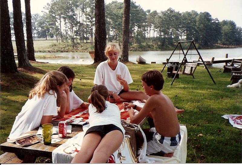Card games at Lanier Lake - Summer '90