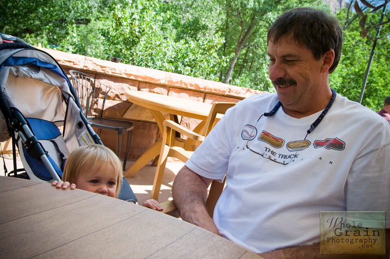 My father-in-law and my adorable niece chillin' after dining on ice cream al fresco at a little cafe near the west entrance of Zion National Park.