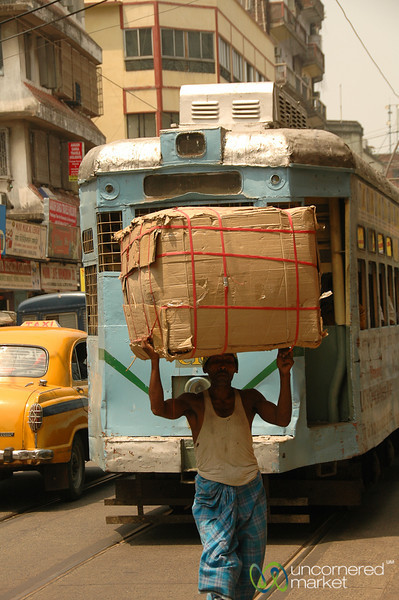 Heavy Load and Tram - Kolkata, India
