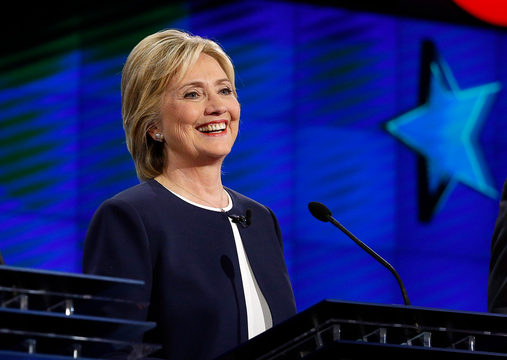 . Hillary Rodham Clinton smiles during the CNN Democratic presidential debate Tuesday, Oct. 13, 2015, in Las Vegas. (AP Photo/John Locher)