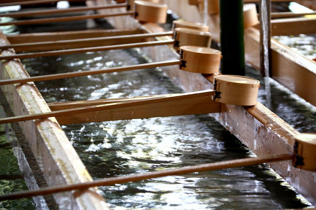 A purification water trough at Meiji Jingu Shrine