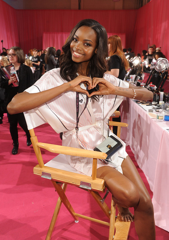 . Model Maria Borges poses at the 2013 Victoria\'s Secret Fashion Show hair and makeup room at Lexington Avenue Armory on November 13, 2013 in New York City.  (Photo by Jamie McCarthy/Getty Images)