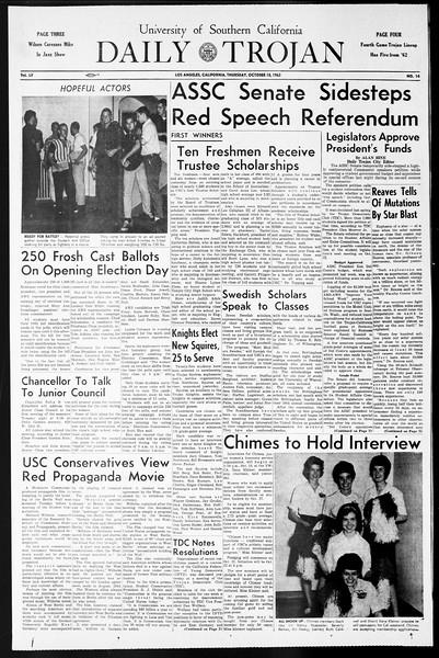 Daily Trojan, Vol. 55, No. 14, October 10, 1963