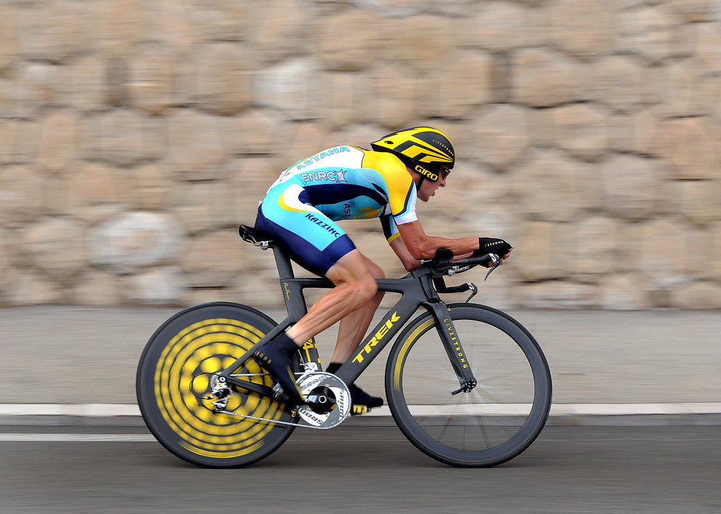 . Seven-time winner Lance Armstrong of USA and team Astana in action during the first time trail of the 2009 Tour de France on July 4, 2009 in Monaco.  (Photo by Koen Haedens/Getty Images)