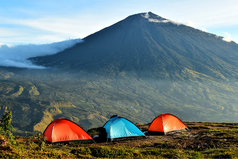 Camp on Bukit Pergasingan, Lombok, Indonesia