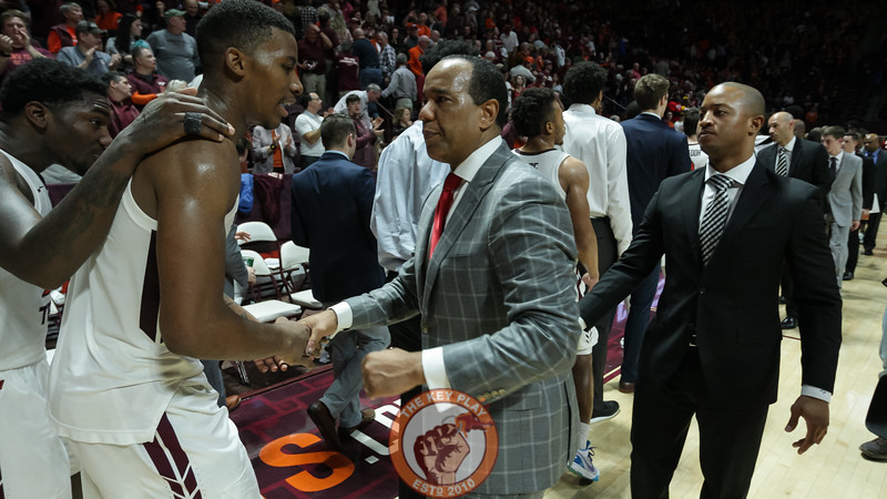 Landers Nolley shakes hands with NC State head coach Kevin Keatts after the final whistle. (Mark Umansky/TheKeyPlay.com)