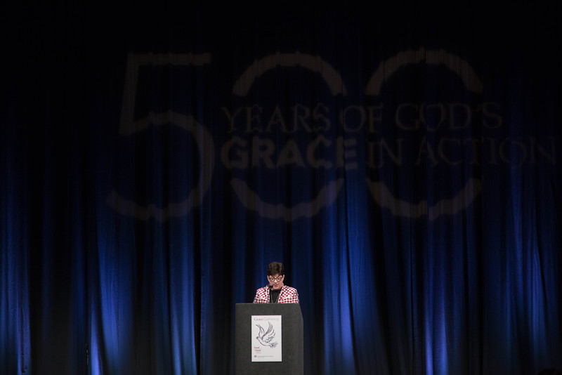 Grace Gathering. Keynote Speaker Leymah Gbowee. Pictured is Bp. Eaton welcomes the Gathering.