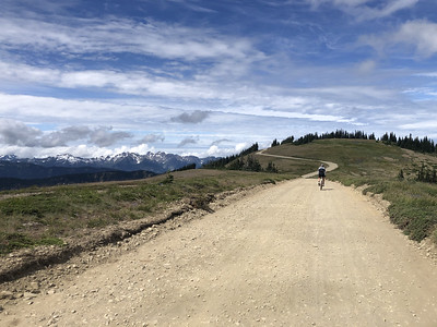 Toby riding back to Obstruction Point Road