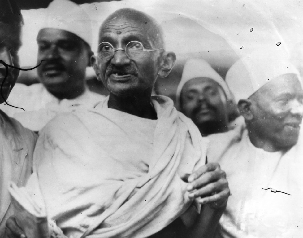 . Mahatma Gandhi (Mohandas Karamchand Gandhi,1869 - 1948), Indian nationalist and spiritual leader, leading the Salt March in protest against the government monopoly on salt production, 1930.   (Photo by Central Press/Getty Images)
