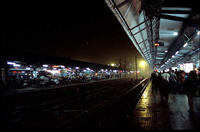 Delhi train station early morning