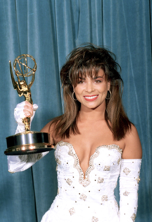 ". Pop singer Paula Abdul holds her Emmy for best choreography in a television series at the 41st Emmy Awards at Pasadena Center Exhibition Hall, Pasadena,, Ca., Sept. 17, 1989. Abdul won for her choreography on ""The Tracey Ullman Show,\"" \""The Wave Girls,\"" \""D.U.I.,\"" \""The Cure,\"" and \""Maggie In Peril, Part 1.\"" (AP Photo/M. Tweed)"