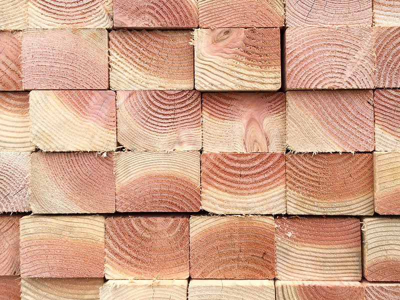 wood at a construction site