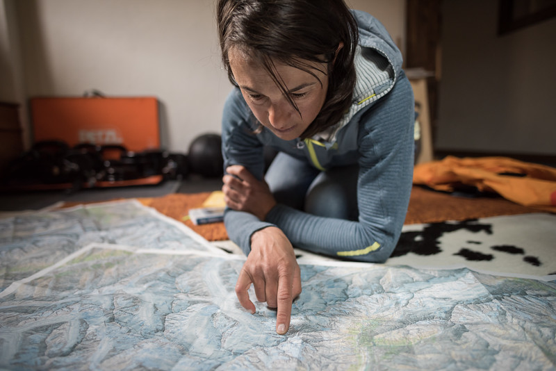 Liv Sansoz planning for an Alpine climb, Chamonix