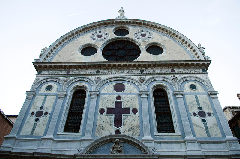 Facade of Santa Maria dei Miracoli church, a superb 15th building in early Renaissance style by Pietro Lombardo, Cannaregio quarter, Venice, Italy
