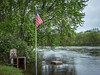 Fireplace, Flag, and Chippewa River In Flood