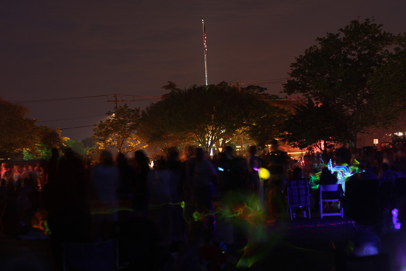 Watching the Fourth of July fireworks from the Great Lawn in Westhampton Beach, NY.