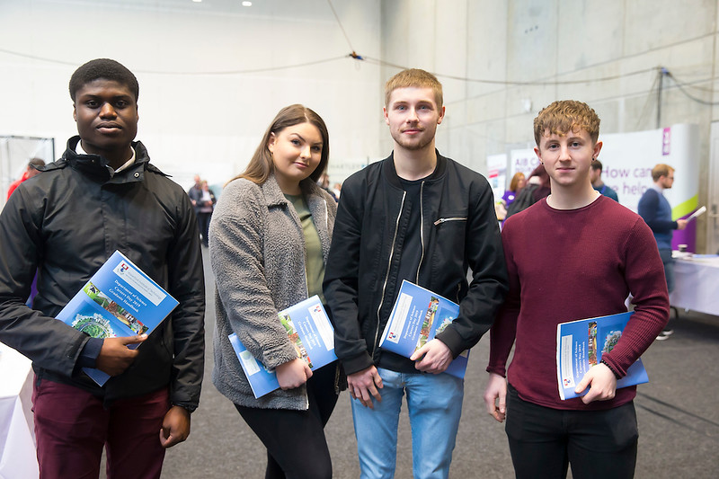 09/03/2019. Pictured at the Waterford Institute of Technology Science Careers Day.  Pictured are Hilkiah Ako Tramore,  Caroline Cheasty Waterford City,  Sam Grace Piltown and Kevin Foskin from Waterford City. Picture: Patrick Browne