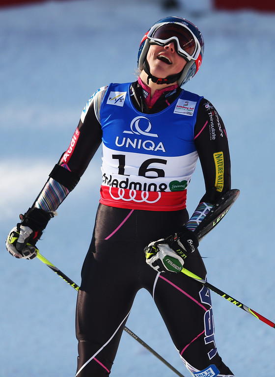 . Mikaela Shiffrin of the United States of America reacts in the finish area after skiing in the Women\'s Giant Slalom during the Alpine FIS Ski World Championships on February 14, 2013 in Schladming, Austria.  (Photo by Clive Mason/Getty Images)