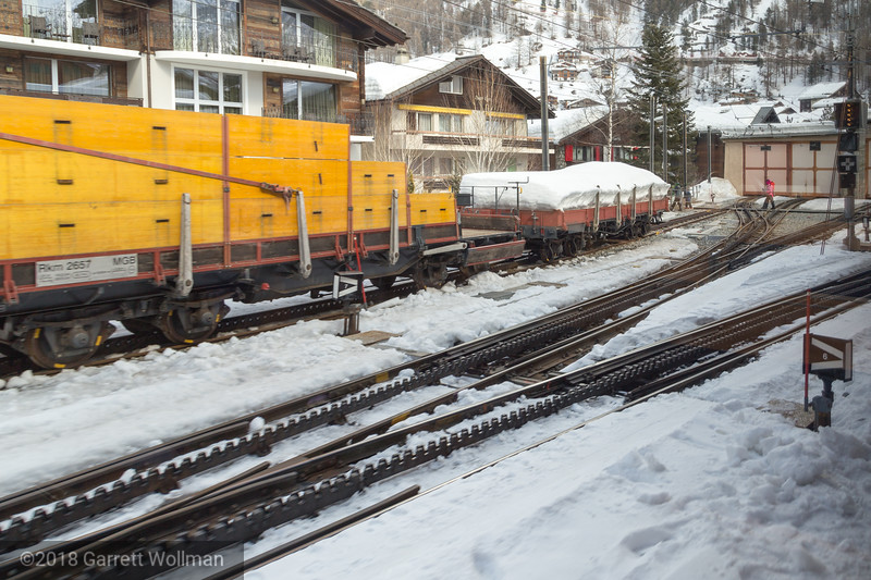 Gornergratbahn track showing switch and rack system