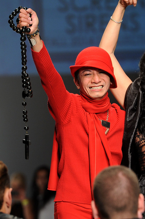 . Designer Andre Soriano makes an appearnace at the conclusion of his fashion show during L.A. Fashion Week March 10, 2014 in Los Angeles, CA.(Andy Holzman/Los Angeles Daily News)