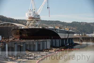 Barge Prometheus, prior to launch, at Gunderson Marine, Portland, Oregon