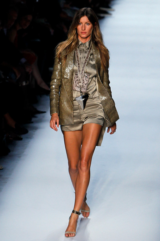 . Brazilian model Gisele Bundchen wears a creation by Italian fashion designer Riccardo Tisci for Givenchy\'s fashion house spring-summer 2012 ready-to-wear collection presented Sunday, Oct.2, 2011 in Paris. (AP Photo/Francois Mori)