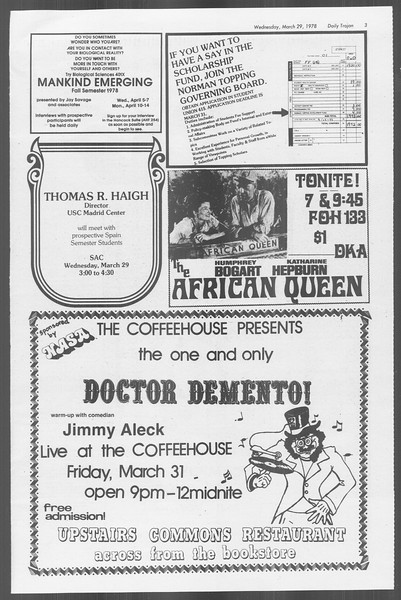 Daily Trojan, Vol. 73, No. 28, March 29, 1978