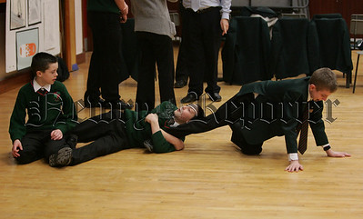 St Joseph's Boy's High School join in the celebration of 20 years of the Big Telly Theatre Company, Steven Burn, Max Maxism and Matthew Foy take part in the drama workshop. 07W8N20