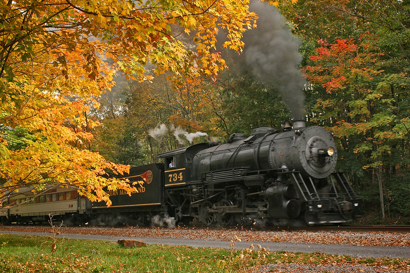 WMSR #734 approached Parkersburg Road Bridge in October Western Maryland Scenic Railroad