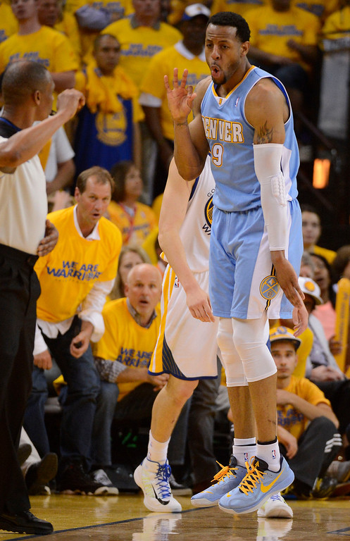 . Andre Iguodala (9) of the Denver Nuggets hits a three pointer during the fourth quarter in Game 6 of the first round NBA Playoffs May 2, 2013 at Oracle Arena. (Photo By John Leyba/The Denver Post)