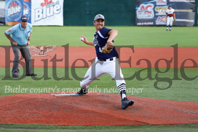 Lance Cotton winds up to pitch for the American League team during the Butler County Area Baseball League All Star game Monday night. Seb Foltz/Butler Eagle