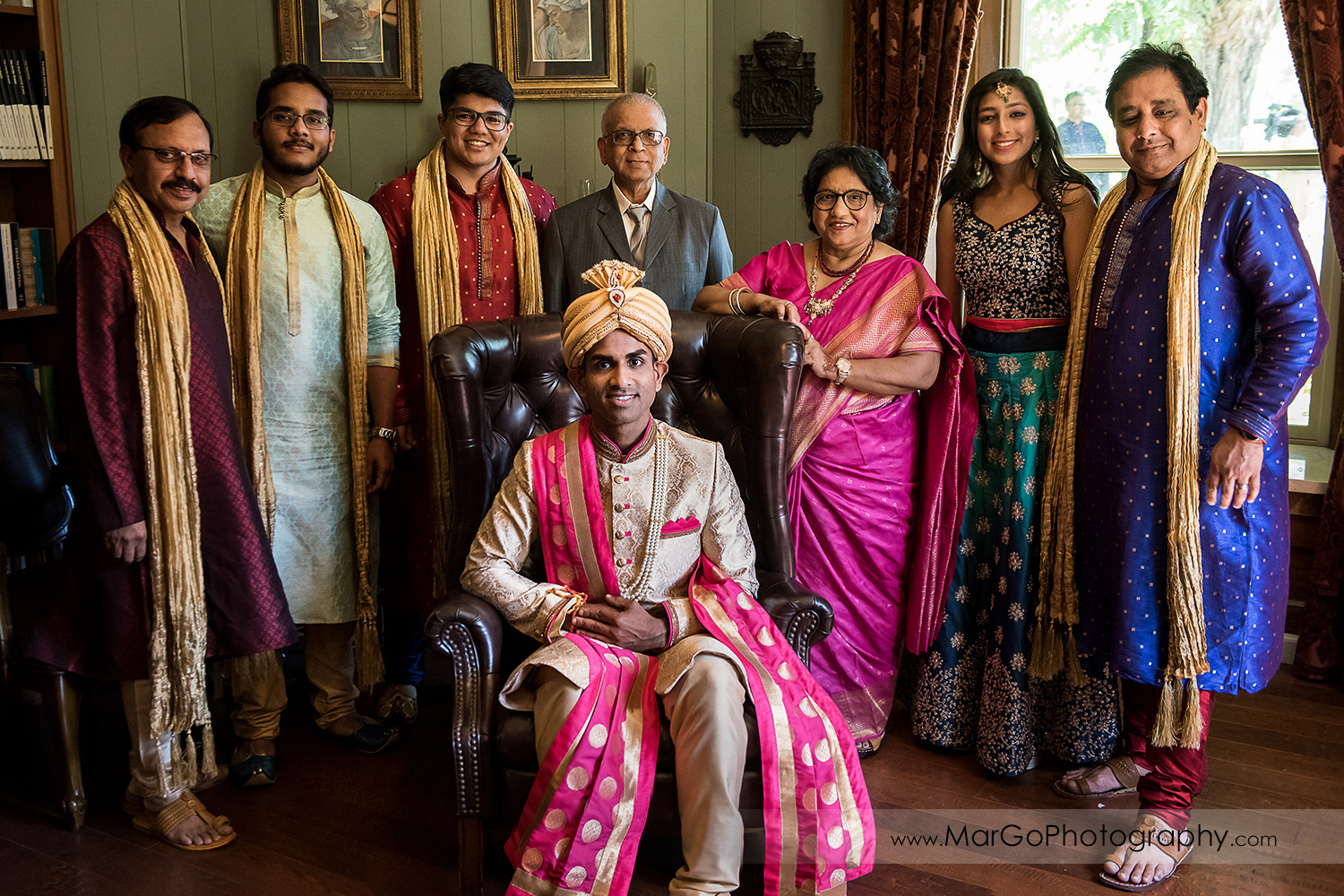 Indian family wedding portrait at Elliston Vineyards in Sunol