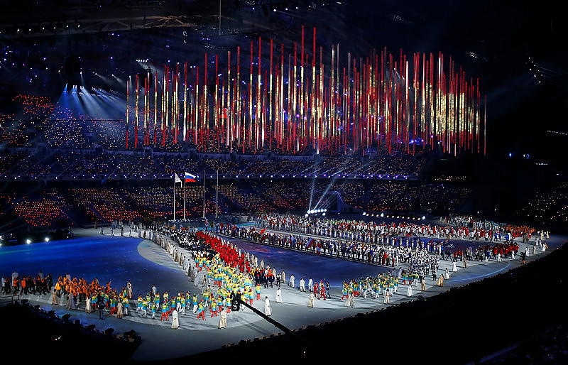 . Athletes enter the floor for the Closing Ceremony at Fisht Olympic Stadium for the 2014 Winter Olympics in Sochi, Russia on Sunday, Feb. 23, 2014.  (Nhat V. Meyer/Bay Area News Group)