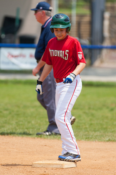 Andrew steals 2nd base on a passed ball in the top of the 2nd inning. The bats of the Nationals were supported by a great defensive outing in a 11-4 win over the Twins. They are now 7-3 for the season. 2012 Arlington Little League Baseball, Majors Division. Nationals vs Twins (13 May 2012) (Image taken by Patrick R. Kane on 13 May 2012 with Canon EOS-1D Mark III at ISO 400, f4.0, 1/2500 sec and 280mm)