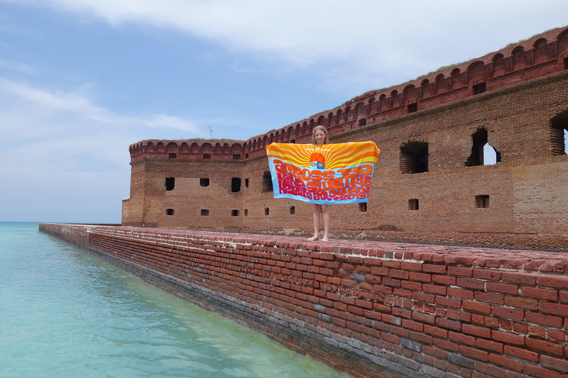 Linnea with her towel at Dry Tortugas National Park, Florida