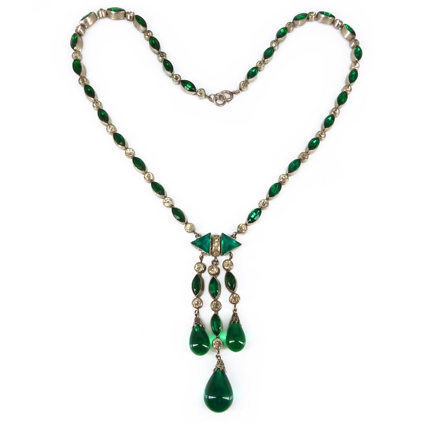 Antique Art Deco Czech Emerald Green Bezel Set Glass Drop Necklace