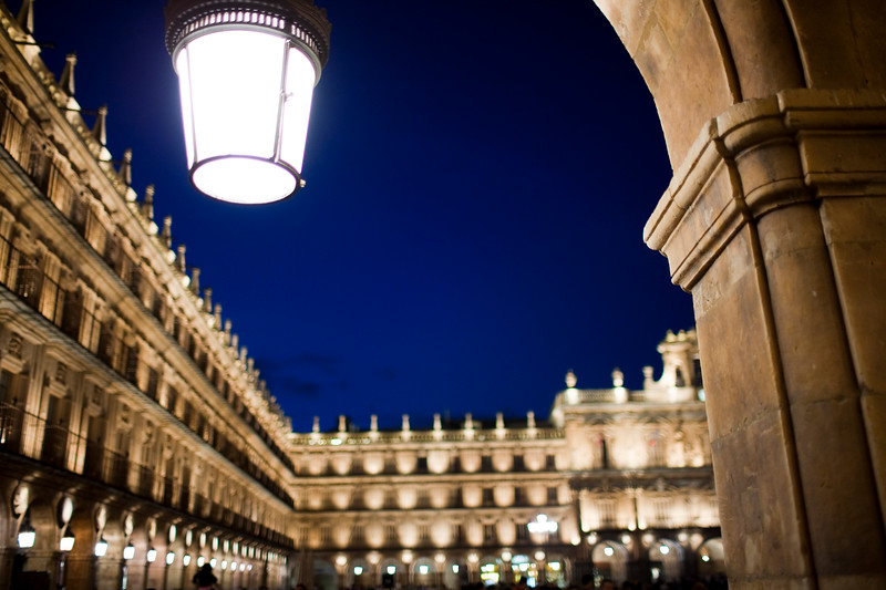 Plaza Mayor or main square by night, town of Salamanca, autonomous community of Castilla and Leon, Spain