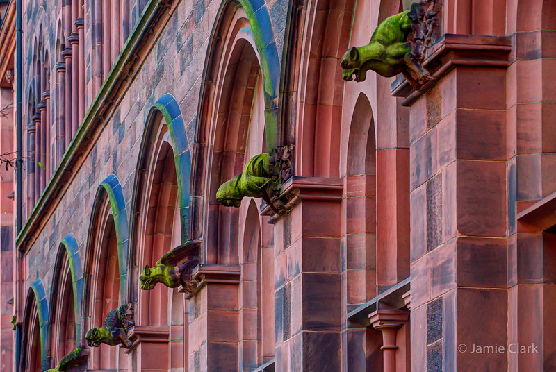 Little Gargoyles all in a row. University Library, Freiburg, Germany