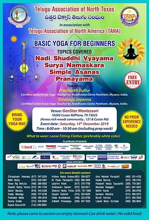 TANTEX in association with TANA - Basic Yoga for Beginners