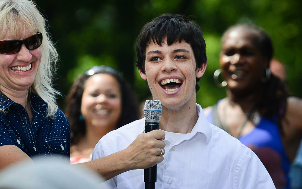 . An ebullient young man asks President Barack Obama a question at Minnehaha Park in Minneapolis on Thursday. (Pioneer Press: Ben Garvin)