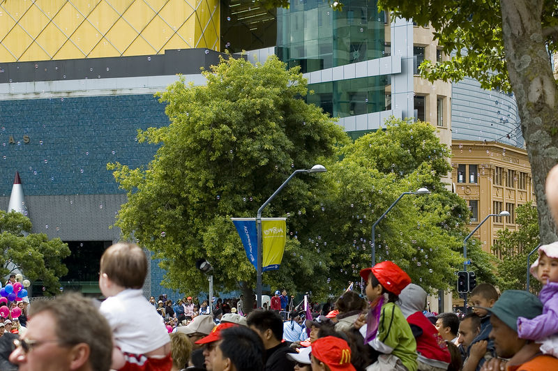 Soap bubbles Santa Parade Auckland New Zealand - 27 Nov 2005