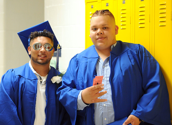 6/21/2018 Mike Orazzi | Staff Christian Vargas and Davian Lopez during Southington High School's graduation Thursday evening.
