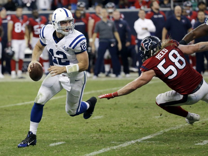 . <p><b> Rams at Colts (-9½):</b> <p>Indianapolis� Andrew Luck rallied the Colts from 18 points down at the half to win in Houston on Sunday, giving him 10 fourth-quarter comebacks in 25 career games. All it took was a mini-stroke of luck ... <p>Pick: <b>Colts by 7</b> <p>   (AP Photo/David J. Phillip)